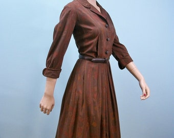50s Nelly Don Dress . Vintage Donna Petite Pleated Skirt Shirtwaist Dress . Autumn Shades Shadow Print . M