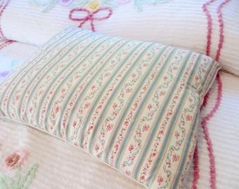 Vintage Feather Pillow Original Ticking Pink Rosebuds Aqua Stripes Shabby Farmhouse Cottage Beauty