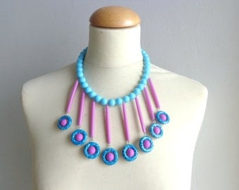 Turquoise purple statement necklace bib necklace collar necklace