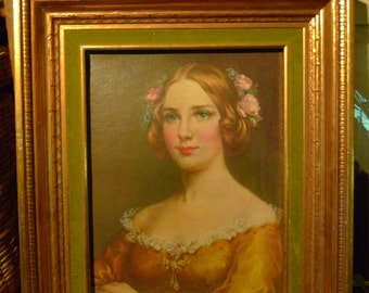 vintage framed portrait jenny lind singer girl green gold
