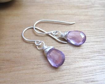 Amethyst Earrings Sterling Silver Birthstone Jewelry February Birthstone Rose de France Amethyst Petite Dangle Earrings Purple Gemstone