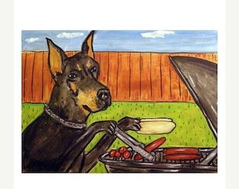 ON SALE Doberman Pinscher at the Cook Out Dog Art Print