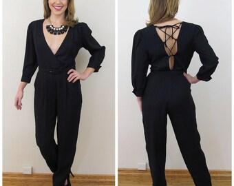80s Jody California Black Deep Plunge Lace Up Jumpsuit, Size XS