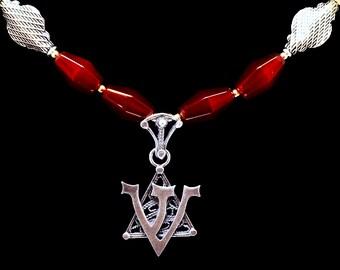 """Handmade Yemenite """"Shin"""" pendant w/Garnets"""