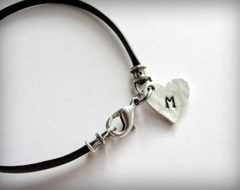 Personalized Initial Bracelet with Pewter Heart Leather Bracelet bridesmaid graduate anniversary valentines ready to ship