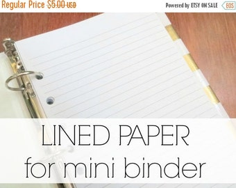 BINDER COVER SALE Add Paper to your mini binder  |  100 sheets of pre-punched lined paper