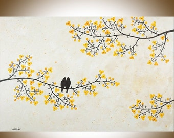 """Contemporary Landscape painting mixed Acrylic birds painting Yellow flowers tree Wall art  Palette Knife canvas art """"Just Us"""" by QIQIGALLERY"""