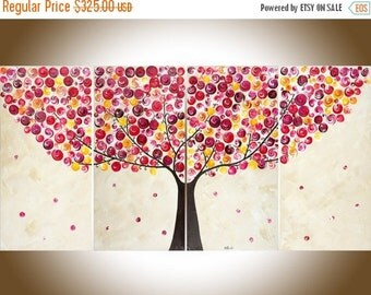 Contemporary wall art Colorful art Red yellow Brown white canvas painting Large wall art wall decor whimsical swirl tree qiqigallery