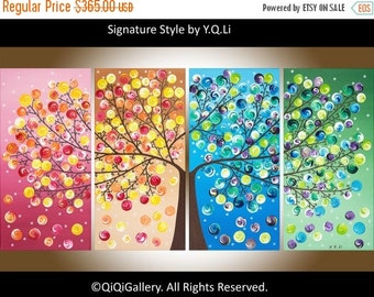 """Art painting Abstract Painting Impasto landscape Painting four seasons Canvas art """"365 Days of Happiness"""" by qiqigallery"""
