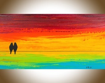 """Colorful love birds on a wire Rainbow color large wall art wall decor red yellow orange green blue mixed """"Sunset Love Birds"""" by QIQIGALLERY"""