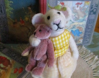 Sweet Penelope and her bear Rufus needle felted mouse figurine