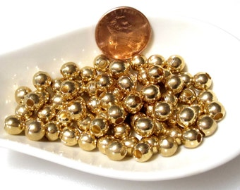 30% Off 20 pcs Antique Gold Round Beads, 6mm with a 2.5mm hole, large hole bead  MB1048 AF16