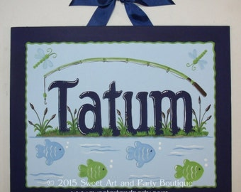 Fishing, Canvas name sign, Personalized, kids wall art, nursery wall art, fish, blue, dragonfly, fishing pole, pond, cat tails, green, art