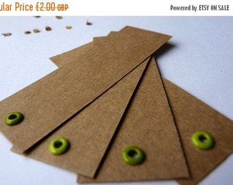 SUMMER SALE Mint and grass green eyelet crisp kraft brown labels or gift tags set of 4