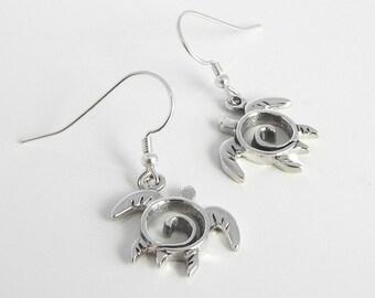 Silver Sea Turtle Earrings - Turtle Earrings - Silver Sea Turtle Jewelry - Unique Turtle Totem Jewelry - Dangle Swirl Turtles