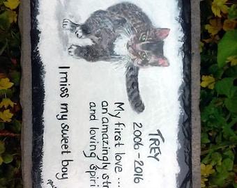 Pet Memorial Garden Stone,slate, pet grave marker ,outdoor pet memorial,,custom painted pet memorial stone, personalized,,cat, dog,pet