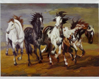 Four Horses  - high quality hand-painted palette knife oil painting, Modern Style Art,Living Room Large Wall Art Decorations,Office Wall Art