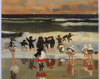 Beach Scene (Children in the Surf) - Winslow Homer high quality hand-painted oil painting reproduction (24.2 x 20 in.)