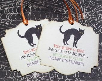 10 Halloween tags - Black Cat - Trick or treat - Poem