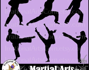 Martial Arts silhouettes set 1 - with 6 EPS & 6 EPS Vinyl Ready and 6 PNG digital files with 6 martial art poses{Instant Download}