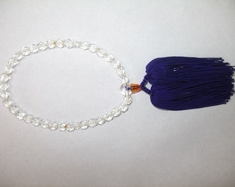 Crystal Ojuzu Prayer Beads with Purple Tassel