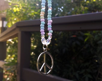 Love Beads Necklace, Pastel Seed Beads, Peace Sign Charm, Pastel Beads, Spring Necklace, Boho Beads, Rainbow Gathering, Coachella