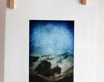 LOVE Original Artwork Hand Pulled Print Etching Cloud Shadow Landscape Mini Print