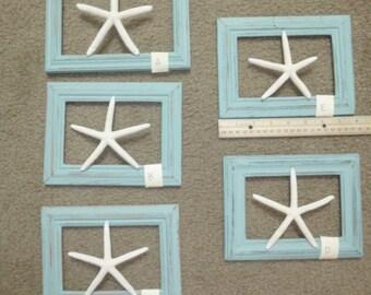 WHITE FINGERLING STARFISH / Medium floating starfish / framed starfish / starfish plaques / beach cottage decor / shabby aqua frames / wall