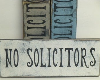 NO SOLICITORS SIGN / no soliciting / no solicitor sign / wood solicitor sign / hand painted sign / anti solicit sign / front door sign /