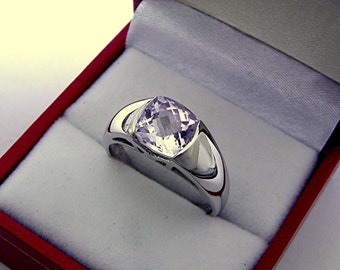AAA Kunzite Cushion Cut   8x8mm  2.6 Carats   14K White gold ring.  1360