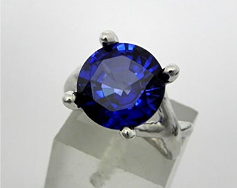 AAA Blue Sapphire   11mm  6.00 Carats   14K White gold gold - ELKE- ring 0723