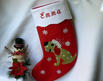 Dog Christmas Stocking|Personalized Christmas Stocking|Child Traditional Red Felt Christmas Stocking|Christmas Decor|Dog Christmas Stocking