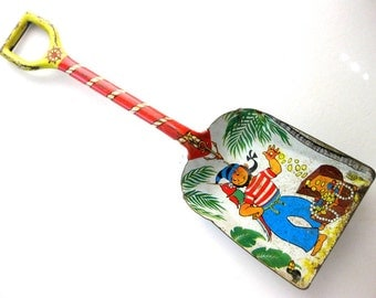 Vintage Tin Toy Shovel, Pirate with Treasure, Large Tin Shovel, J Chein USA