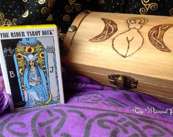 Treasure Chest Altar Box with Mini Tarot Card Set