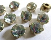 Vintage Crystal Rainbow 7mm (34ss) Rhinestone in Silver Plated Prong Setting (10)