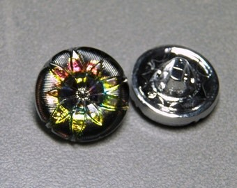 Czech Glass Pressed Button Black with Starburst Flower with Metal Shank 18mm (1)