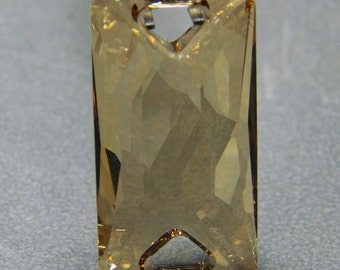 Sew-on component Swarovski Crystal Golden Shadow, 30x15mm faceted space cut with 2 holes (2)