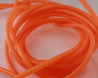 Rubber cord 4mm Neon Orange , hollow tubing, by the yard