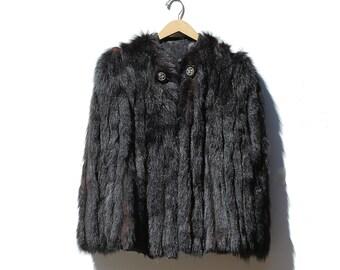 Vintage Dark Brown Racoon Fur Short Coat