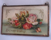RESERVED for Deb Vintage Postcard Framed Double Glass - Hanging Postcard  101 year Postcard - Shabby Chic, Romantic, Cottage Style Decor