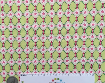 SALE Fm-08 HARLEQUIN STAR Pink Lime Green White Felicity Miller Sun Moon Collection Cotton Quilt Dress Fabric by the Yard