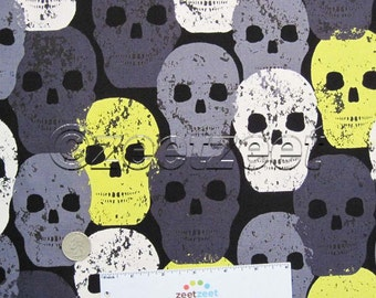 Michael Miller SKULL of ROCK Yellow Gray Black White HALLOWEEN Skulls Dead 100% Cotton Quilt Fabric - by the Yard, Half Yard, or Fat Quarter
