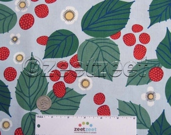 LIZZY HOUSE RASPBERRY Bramble Light Blue Red Green Leaves Flowers Berries Quilt Fabric by the Yard, Half Yard, or Fat Quarter Fq Strawberry