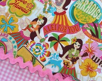 ALOHA HULA GIRLS Tropical Cotton Quilt Fabric Yard Fq Honolulu Paradise Vacation Travel Mail Tiki Waikiki Island Love Lei Leis Dance Dancers