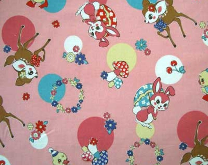 RETRO ANIMALS Pink Deer Bunny Duck Vintage Style Japan Cotton Quilt Fabric - Japanese Import Circles Yellow Aqua