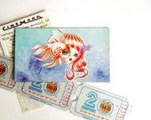 Jellyfish Girl & Goldfish Refrigerator Magnet Mini Art