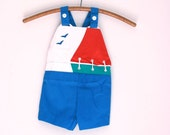 Vintage shorts romper jonjon nautical red white and blue nos 2t 3t