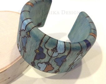 Blue Wooden Bangle, Pyrography -wood burning-, Hand painted, One-of-a-kind jewelry