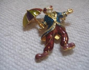 Vintage PSCo Enameled Clown Figural Pin Sooo Cute