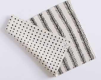 REVERSIBLE PLACEMAT - feather - polk dots - black and white - kitchen - decor - home decor - modern - simple usa made - graphic - bold